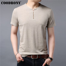 COODRONY T Shirt Men Button Henry Collar Short Sleeve T-Shirt Summer Casual Mens T-Shirts Cotton Tee Homme Top S95042