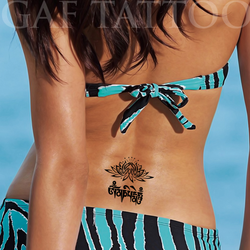 Temporary Tattoos Sticker for Women Sexy Arm Leg Fake Lotus Sanskrit Tribal Designs Waterproof Body Art Long Lasting Real Look