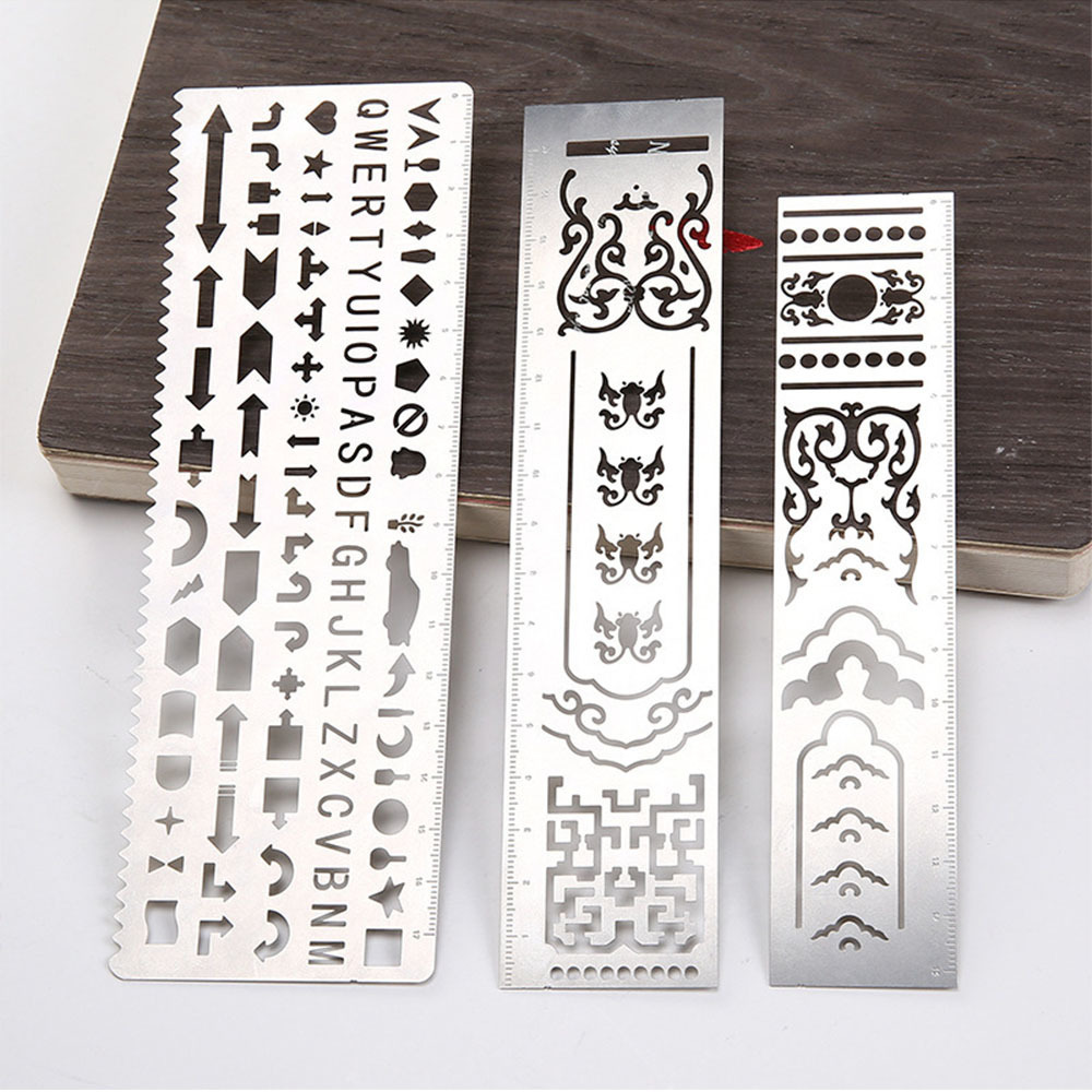 2018 New DIY Stainless Steel Hollow Ruler Drafting Template Drawing Graphic Template Ruler Filofax Planner Agenda Diary Decor