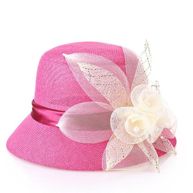 La primavera y el verano nueva moda mujeres sol sombrero sombrero cuenca cinta de la Flor de las mujeres 4 color