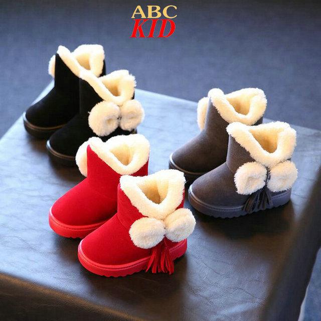 Chicas Botas De invierno Snowboots Lindos Niñas Borla Botas de Invierno de Lana Negro Nieve Botas Niños Botas Zapatos Chaussure Fille KD298