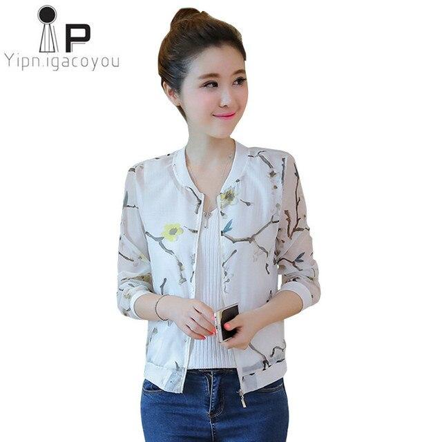 d9f86afb2beb Thin Short Sunscreen Coat Women Summer Jacket 2018 Ladies Slim Chiffon  White Harajuku Jacket Female Tops