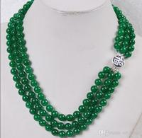 Charming 3Rows 8mm Natural Green Jadeite Stones Jewelry Necklace Silver Clasp Free Shipping