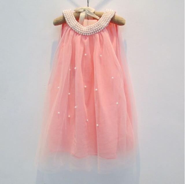 73ba7a466700 baby girl fairy chiffon pearls collar beading dress with back bow ...