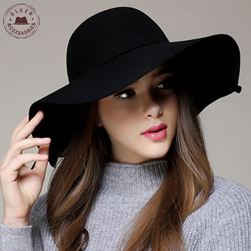 Chapeau Hot Sale Casual Fedora Cap Wide Brimmed Dome Hattar High Quality Wool Floppy Hat Womens Black Cloche Hats [Gen-621]