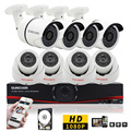 SUNCHAN HD AHD-H Sistema de Cámaras de Seguridad DVR Kit 8CH 1080 P 2.0MP 8*1080 P CCTV Visión Nocturna del Día casa de Seguridad w/HDD
