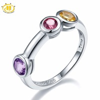 Hutang Multi Gemstone Jewelry Natural Amethyst Garnet Citrine 925 Sterling Silver Ring Round Gemstones Novelty Fine
