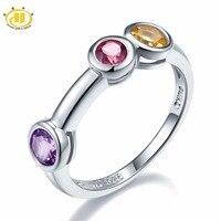 Hutang Multi Gemstone Jewelry Natural Amethyst Garnet Citrine 925 Sterling Silver Ring Round Gemstones Novelty Fine
