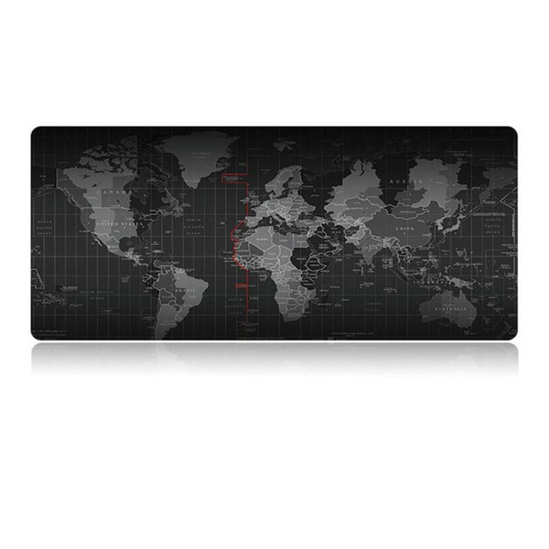 Extra Large Mouse Pad World Map Mousepad Anti-slip Natural Rubber Gaming Mouse Mat With Locking Edge