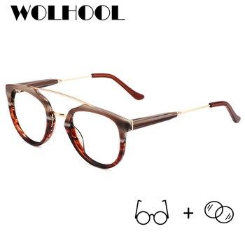 28d5f289f6 Gafas graduadas de acetato de moda para mujer, gafas ópticas de bloqueo de  luz azul redondas, gafas para hombre, gafas de miopía