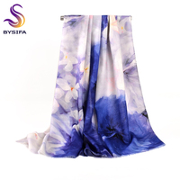 BYSIFA Winter Blue White Pure Wool Cashmere Scarves Shawl Women Chinese Style Poppy Floral Short
