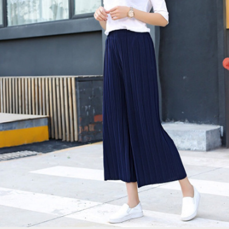 2019 Hot Fashion Women Chiffon Loose   Pants   High Waist Ruffled Hem Thin Pleated Trumpet Casual Trousers Style Soft Fabric MSJ99