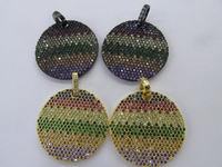 Rainbow Diamond Crystal Eyes Micro Crystal Pave Diamond Pendant gunmetal Jewelry Focal Round Disc Evil Jewelry beads 28mm 2pcs