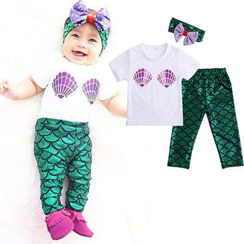 2017 Newborn Infant Clothing ropa bebe Boy Cotton Baby Girl Clothes Kids Set 3pcs Headband + T-shirt + Mermaid Leggings Outfits newborn baby boy girl clothes set short sleeve top bodysuits leg warmer bow headband 3pcs clothing outfits set