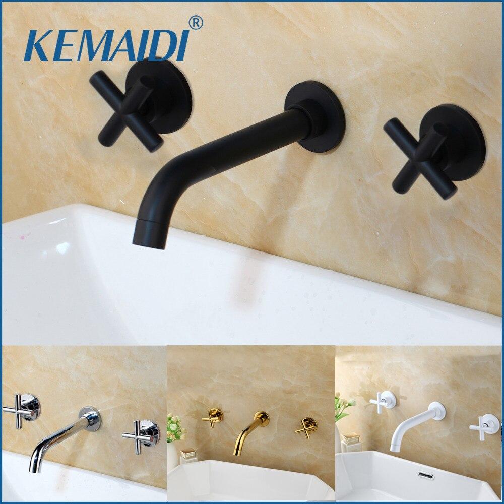 Модные настенные краны KEMAIDI для раковины, смеситель для ванной комнаты, кран с двойным рычагом, матовый черный/полированный золотой