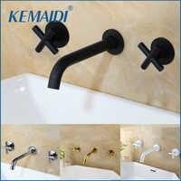 Grifos de KEMAIDI de moda fregadero de pared grifo mezclador conjunto grifo de baño con doble palanca en negro mate/oro pulido