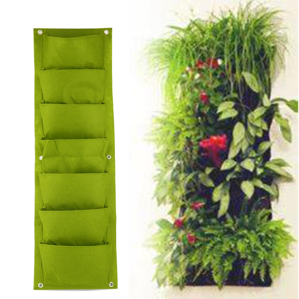 96*30cm Green Vertical Garden Planter Wall-mounted Planting Flower Grow Bag 7 Pocket Vegetable Living Garden Bag Home Supplies
