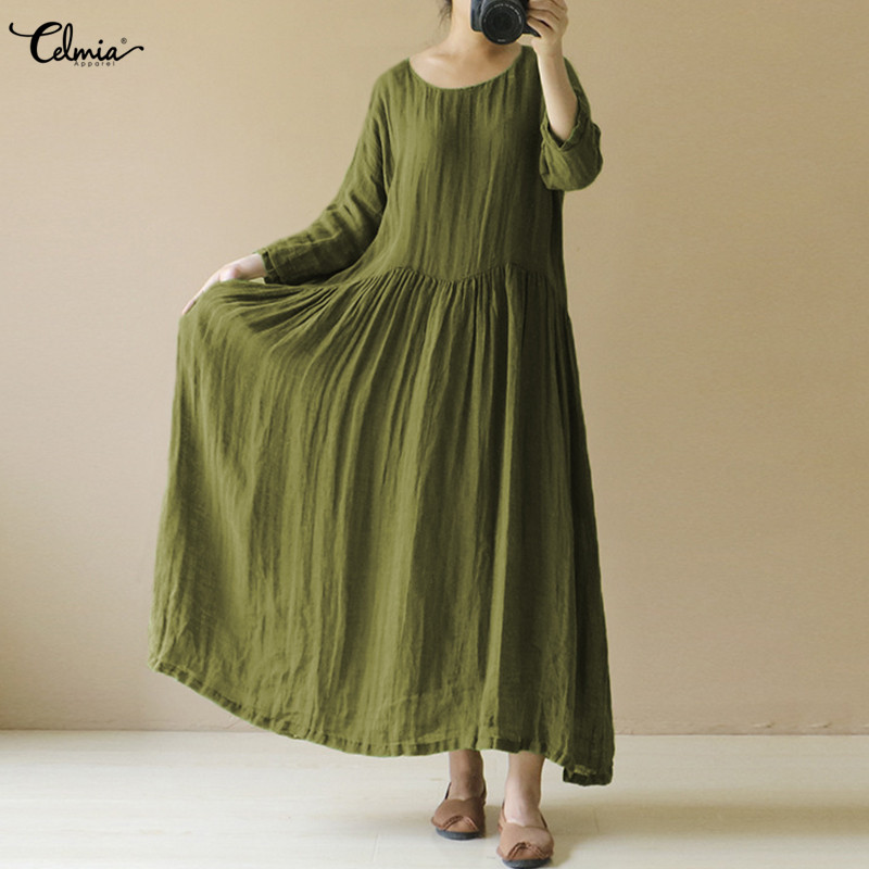Oversized Vestidos Celmia Women Summer Retro Maxi Long Dress Casual Loose O Neck Long Sleeve Vintage Linen Dress Plus Size S-4XL