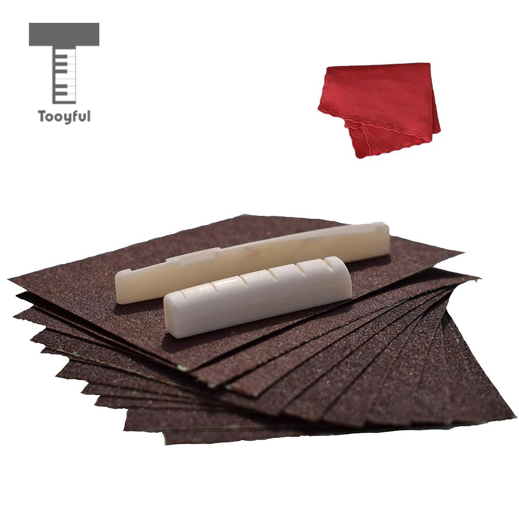 Tooyful String Instrument Accs Buffalo Bone Saddle Nuts & Cleaning Cloth with 9Pcs Sand Paper for Guitar Maintianance
