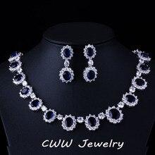 Magnífico Micro Embutido CZ Diamante Simulado Completo Alrededor Oscuro Azul Zafiro Oval Forma de La Flor de Cristal Para Las Mujeres T159