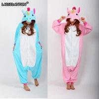 LAISIDANTON Cute Blue And Pink Unicorn Onesies Cosplay Pijama Winter Sleepwear Pegasus Animal Pajamas Children Adult