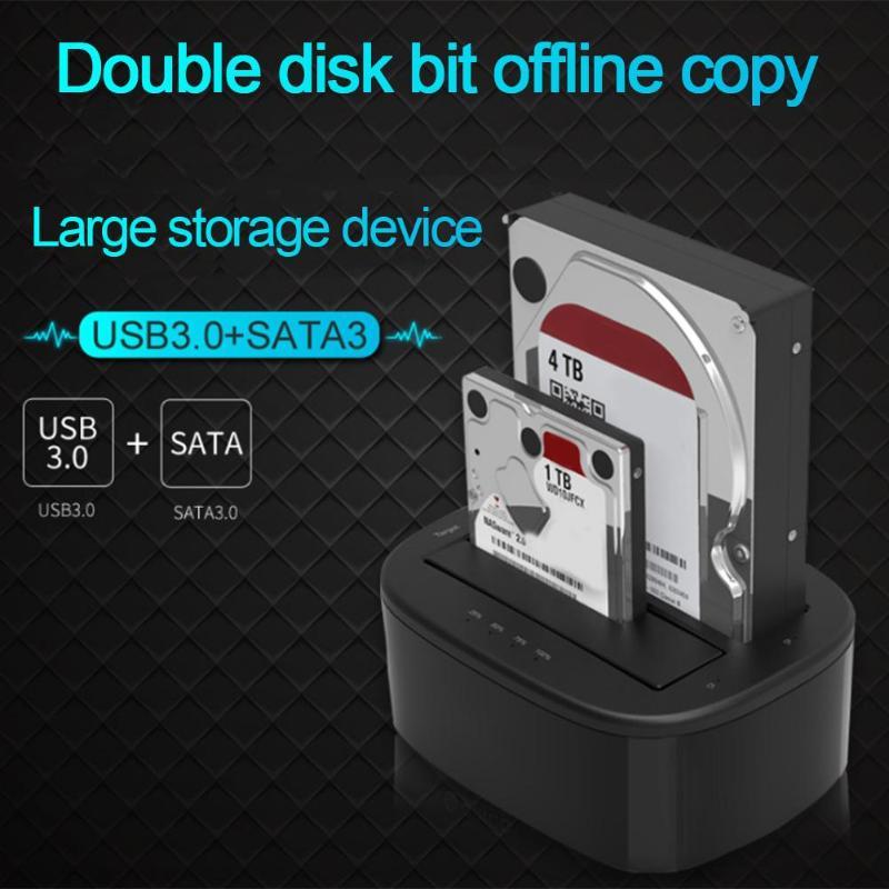 HDD Docking Station SATA USB3.0 Dual Hard Drive HDD SDD Docking Station for 2.5''/ 3.5 Hard Disk Offline Cloning Duplicator Box docking station