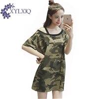 Women T Shirt 2017 Summer Short Sleeve Slash Neck Army Green Tshirt Female Casual Camouflage Shirt