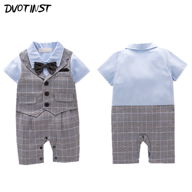 008c02453 Baby Boys Clothes Short Sleeves Gentleman Bow Tie Plaid Romper Outfits  Infantil Wedding Jumpsuit Party Birthday Clothing Costume