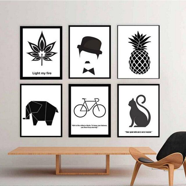 Inspirierende Zitieren Leinwand Malerei Nordic Dekoration Schwarz Weiß  Poster Druckt Kunst Wandbilder Wohnzimmer Home Decor Kein