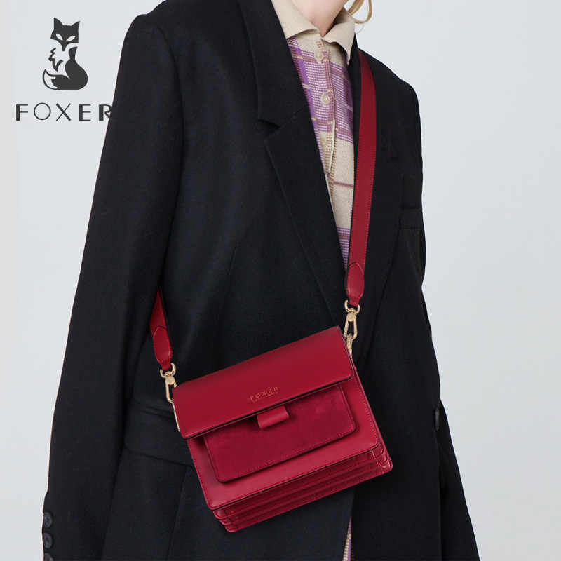 Mulheres FOXER bolsa de Ombro Saco Crossbody Saco De Mulher De Couro Sacos Alça de Presente Presente do Dia Dos Namorados Feminino Messenger Bag Lady Flap