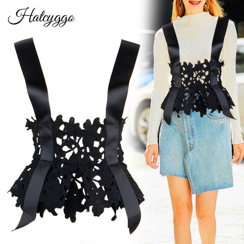 HATCYGGO Vintage Women Lace Wide Belt Stretchy Corset Waist Band Female Cincher Cummerbund For Dress Multi Wear Strap Waistband