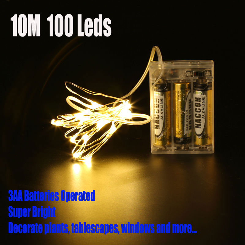 10M 100 Led 3 AA Battery Powered Decorative LED Copper Wire Fairy String Lights Warm White White For Christmas Wedding Parties