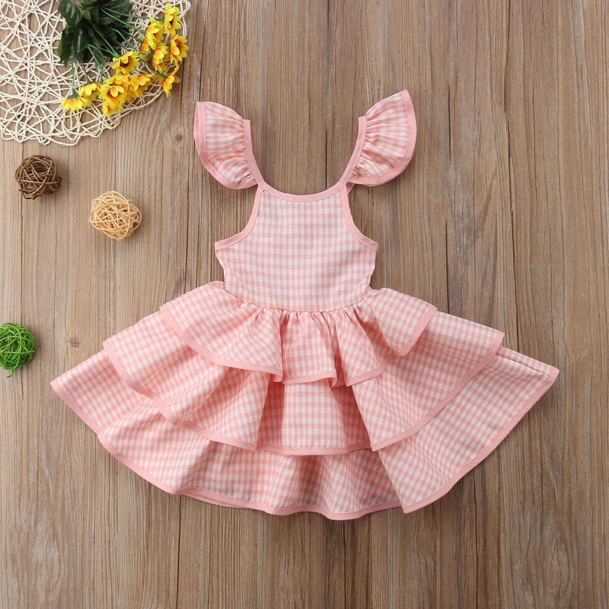 2019 Детские платья для девочек, многослойное платье-пачка с оборками, вечерние Пышное Платье для принцессы, детская одежда для маленьких девочек, летние От 1 до 7 лет
