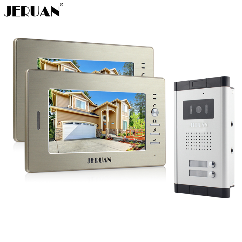 JERUAN Brand New Apartment Intercom System 2 Monitor Wired 7 Color Video Door Phone intercom System for In Stock FREE SHIPPING brand new wired 7 inch color video door phone intercom doorbell system 1 monitor 1 waterproof outdoor camera in stock free ship
