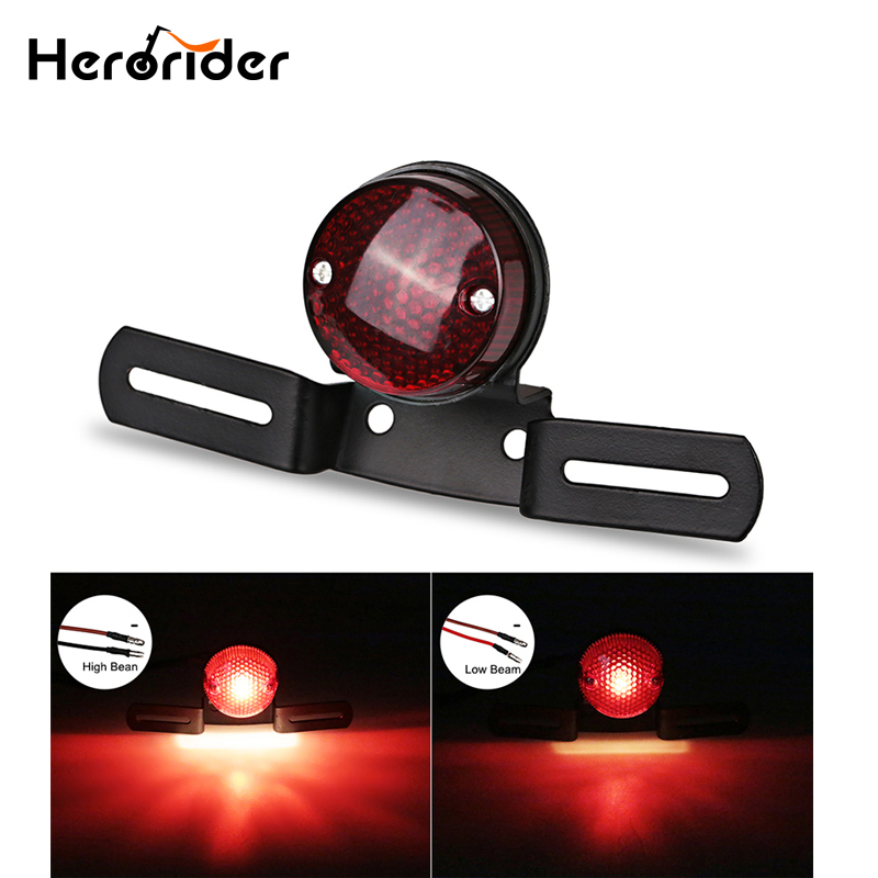 Herorider Motorcycle RED Brake Tail Rear Light Bulb for Harley Chopper Custom for Cafe Racer Motorbike Turn Signal Brake Lights 2 rilliant red 7507 py21w canbus led replacement bulbs for bmw f30 f32 3 4 series rear turn signal lights or brake tail lights