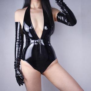 Image 4 - Womens ultra long faux patent leather PU leather long design fashion black color 40cm, 50cm, 60cm, 70cm length R598