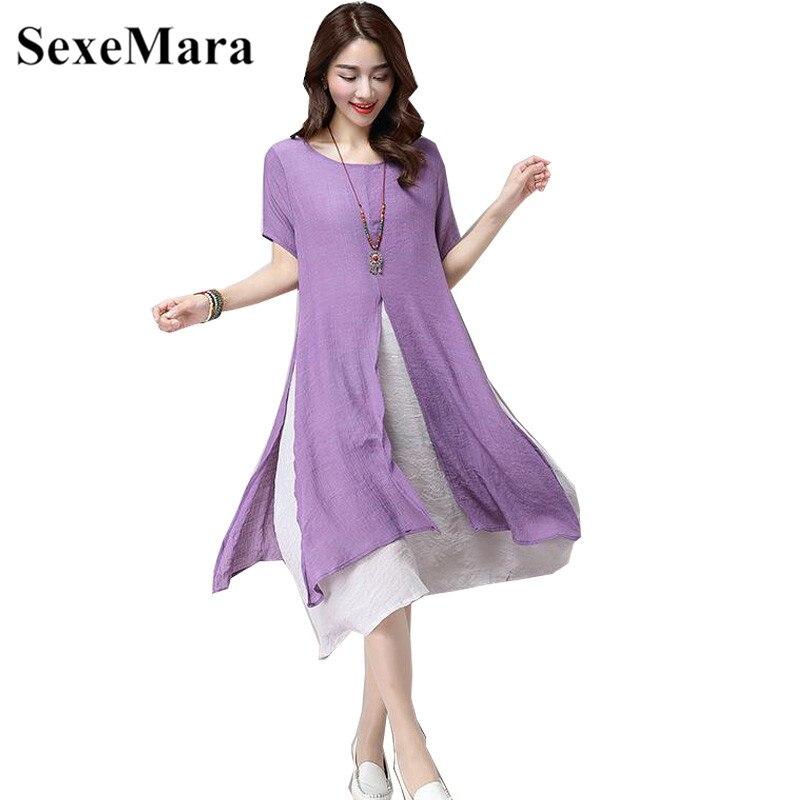 SexeMara 2019 Summer Two Layers Casual Women Dress Wear Vintage Loose Chiffon Dress Side Slit Dress Chinese Style Ethnic Dresses