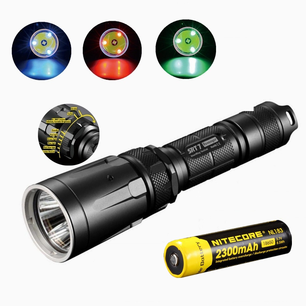 NITECORE SRT7 Flashlight Cree XM-L2 960LM Smart Selector Search Torch green blue red  W/Nitecore NL183 18650 2300mah Nattery nitecore mt10a 920lm cree xm l2 u2 led flashlight torch