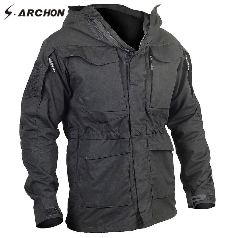 S. ARCHON Новый M65 Водонепроницаемый военный летчик куртки Для мужчин ветровка камуфляж тактический Полевая куртка мужская с капюшоном и карма...
