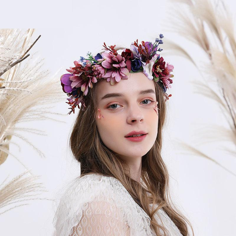 Bohemian Sweet Forest Purple Flowers Bridal Wreath Flower Girl Headdress Bridesmaid Romantic Headband Wedding Accessories 2019