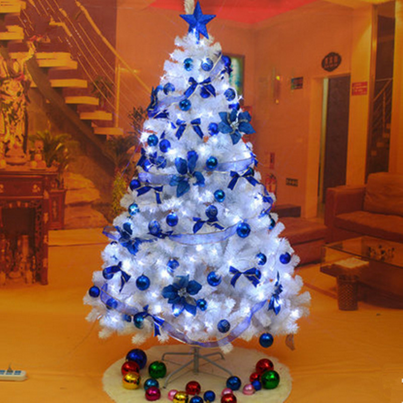 White christmas tree decorated in blue for 180 degrees christmas decoration