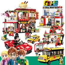 New City Series Street View Model Blocks Legoes Bricks Store Shop Kid Assembly Architecture Building Blocks Toy for Children hsanhe new street store plastic building blocks mini shop architecture dinosaur museum educational brinquedos for kids xmas gift