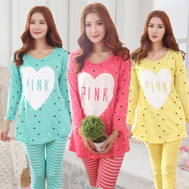 Amor del corazón de Las Mujeres Pijamas de manga Larga O-cuello Femenino Pijama Mujeres ropa de Dormir Camisón Trajes Suave Sueño Salón Pijama Homewear