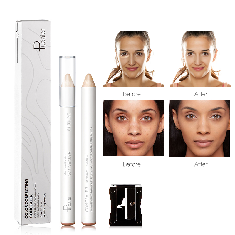 Pudaier 1PC 8Shades Cream Concealer Pencil With Sharpener Waterproof Makeup Full Coverage Concealer Highlighter For Dark Circle image