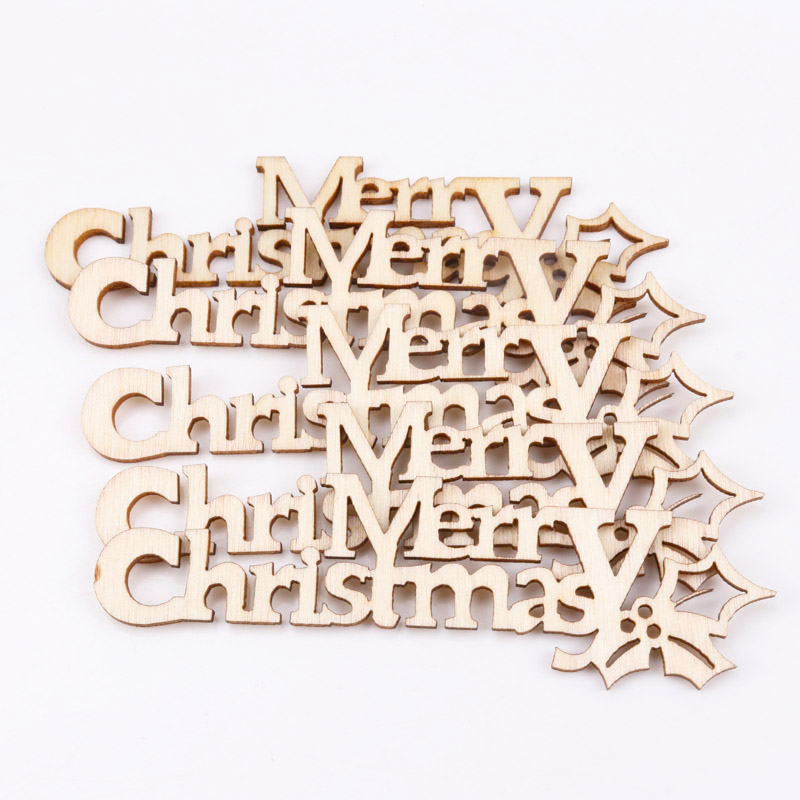 21x92mm 10pcs Diy Natural Christmas Pattern Wooden Scrapbooking Art Collection Craft For Handmade Accessory Sewing Home