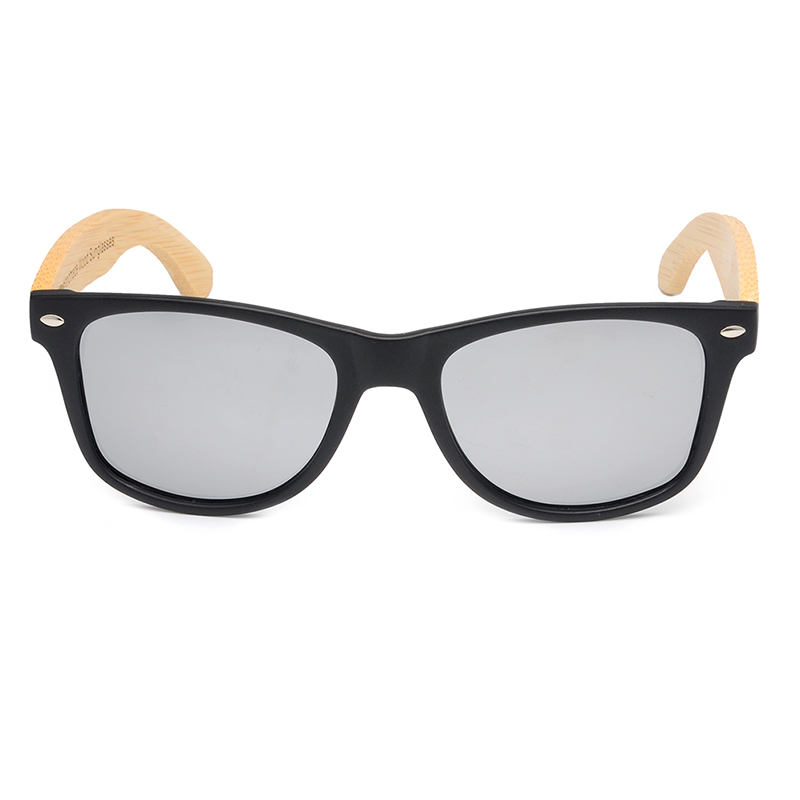 BOBO BIRD Black Square Sunglasses With Bamboo Mirrored 16