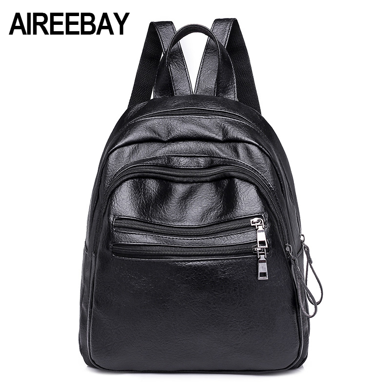 Aireebay Small Women Backpacks Japanese And Korean Style Female School Bags For Teenage Girls Black Pu Leather Women Backbags