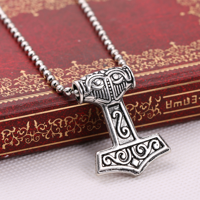 Myth Thor's Hammer Norse Magick Mjolnir Pewter Necklace Gothic Punk Vintage Vikings Pendant Accessories Jewelry for Gift