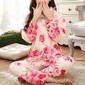 Розничная Женщин Пижамы Цветочный Пижамы Теплый Фланелевую Пижаму Осень Зима Домашней Одежды С Длинными Рукавами Дамы Пижамы
