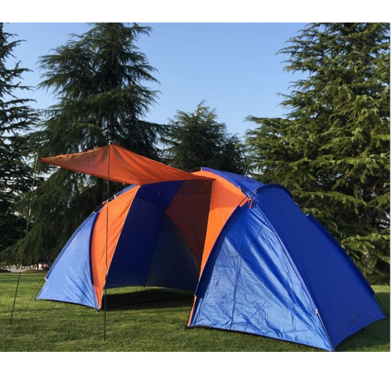 5 6persons luxury 2room 1hall double layer large family outdoor camping tent without the bottom aluminum